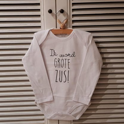 Baby rompertje tekst Hoera ik word grote zus meisje - Zwangerschapsaankondiging   Lange mouw   wit   maat 86-92 zwangerschap aankondiging