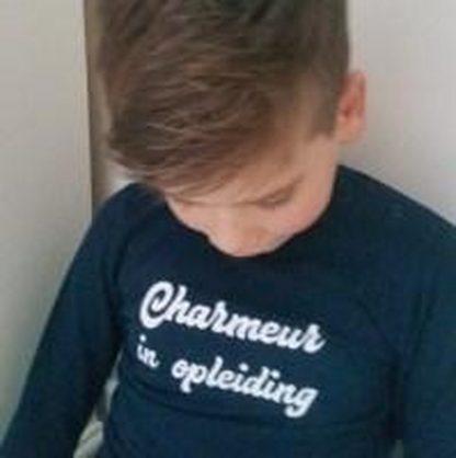 Baby rompertje zwart met tekst opdruk charmeur in opleiding | lange mouw | zwart wit | maat 74/80 cadeau geboorte jongen kraamcadeau