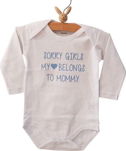 Baby tekst mama baby jongen tekst cadeau eerste moederdag Romper sorry girls, my heart belongs to mommy   Lange mouw   wit met licht blauw   maat 62/68