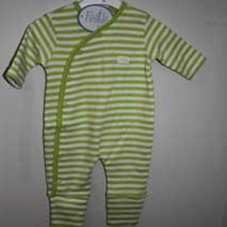 Babypak streep limegroen - wit met klapvoetje mt 62
