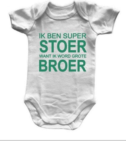 Babyromper met Tekst: Ik ben super Stoer want ik word Grote Broer - Maat 74/80 - Wit - Korte Mouw - Teal