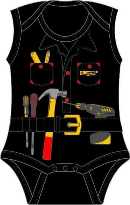 Fun2Wear Handyman Romper zwart maat 62