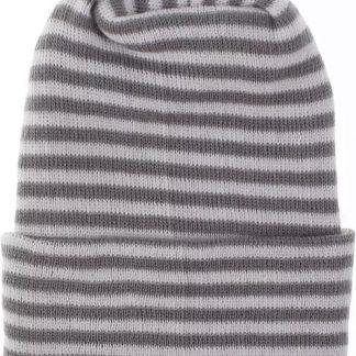 Geboortemuts / babymuts / ziekenhuismuts grijs wit gestreept - Extra dikke stof - 0 tot 1 maand