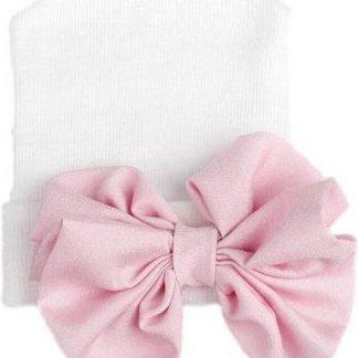 Geboortemuts / babymuts / ziekenhuismuts wit met roze glanzende strik - 0 tot 1 maand