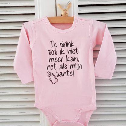 Grappig Baby Rompertje meisje Tekst Ik drink tot ik niet meer kan, net als mijn tante! met fles   Lange mouw   roze   maat 62/68