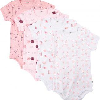 Pippi Rompers Korte Mouw Meisjes Katoen Roze 4 Stuks Maat 80