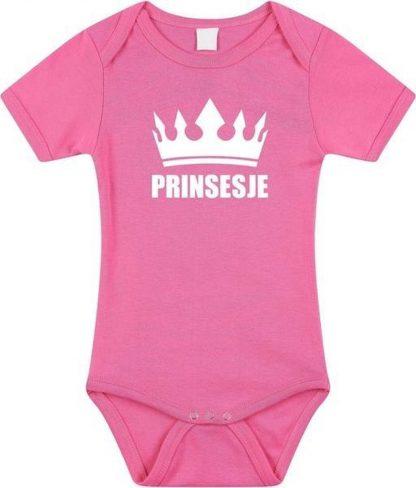 Prinsesje met kroon baby rompertje roze meisjes - Kraamcadeau - Babykleding 56 (1-2 maanden)