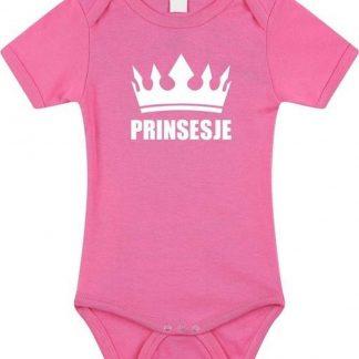 Prinsesje met kroon baby rompertje roze meisjes - Kraamcadeau - Babykleding 80 (9-12 maanden)