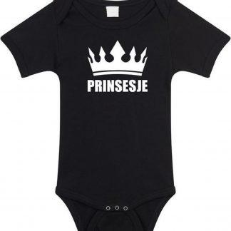 Prinsesje met kroon baby rompertje zwart meisjes - Kraamcadeau - Babykleding 56 (1-2 maanden)