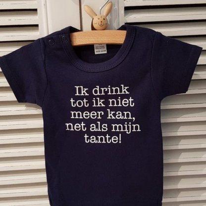 Romper jongen of meisje korte mouw blauw met tekst: Ik drink tot ik niet meer kan, net als mijn tante! -Maat 86-92
