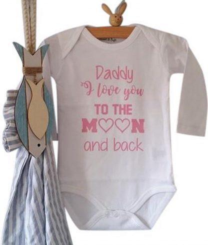 Rompertje Daddy I love you to the moon and back | wit met roze | maat 50/56 romper papa liefste bekendmaking zwangerschap aanstaande baby meisje