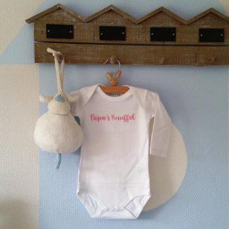 Rompertje baby meisje Papa's Knuffel | Lange mouw | wit met roze | maat 50/56 cadeau papa geboorte worden voor verjaardag of vaderdag ( I love allerliefste )
