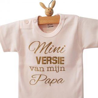 Rompertje baby meisje korte mouw roze met tekst: mini versie van mijn papa -Maat 50-56