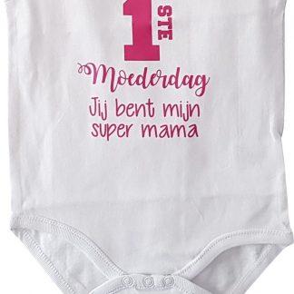 Rompertje baby meisje roze tekst cadeau eerste moederdag | eerste moederdag jij bent mijn super mama | korte mouw | wit roze fucsia | maat 62-68