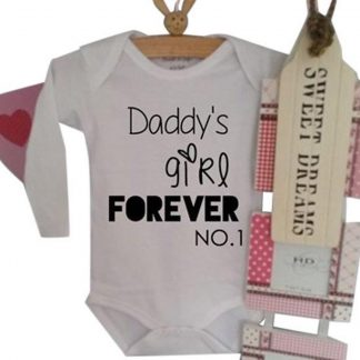 Rompertje baby tekst cadeau eerste vaderdag pappie meisje tekst papa   Daddy's Girl Forever no. 1   wit zwart   maat 74-80