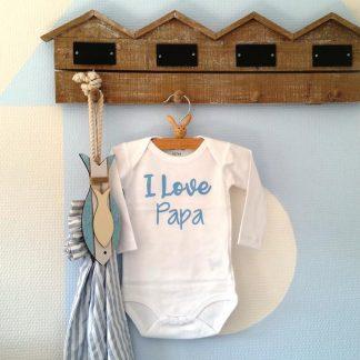 Rompertje jongetje I Love Papa | Lange mouw | wit met blauw | maat 50/56 bekendmaking zwangerschap aanstaande baby jongen