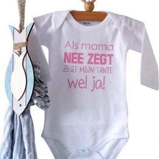 Rompertje meisje Als mama nee zegt zegt mijn tante wel ja   Lange mouw   wit met roze   maat 74/80