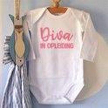 Rompertje meisje Diva in Opleiding | Lange mouw | wit | maat 74/80 cadeau