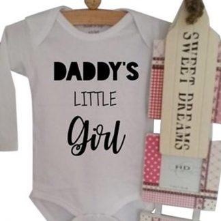 Rompertje meisje tekst papa Daddy's little Girl | Lange mouw | wit | maat 62-68