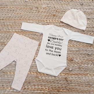 Set met baby romper tekst voor meisje cadeau papa eerste roze fijne vaderdag beer 56