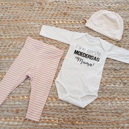 Set met baby romper tekst voor meisje of jongen cadeau mama eerste moederdag 74-80