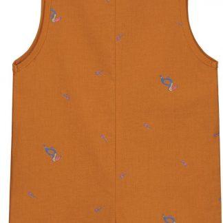 Smitten Organic - Tropisch Toekan Korte Mouwen Shirt - Beetle Brown - Maat 68