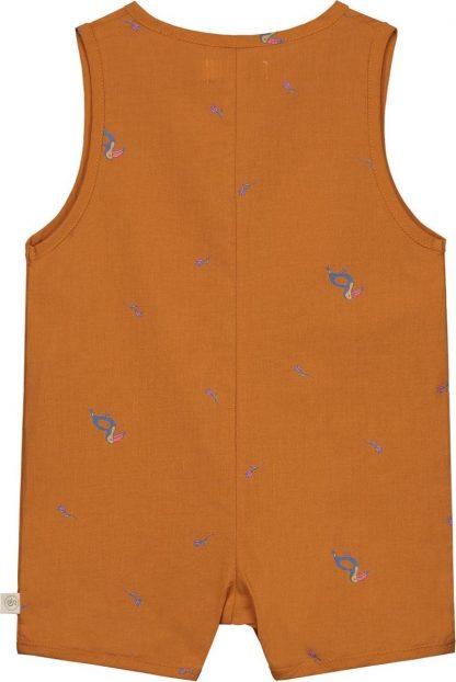 Smitten Organic - Tropisch Toekan Korte Mouwen Shirt - Beetle Brown - Maat 74
