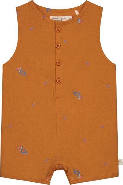 Smitten Organic - Tropisch Toekan Korte Mouwen Shirt - Beetle Brown - Maat 80