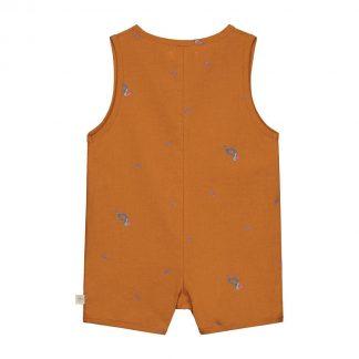 Smitten Organic - Tropisch Toekan Korte Mouwen Shirt - Beetle Brown - Maat 92