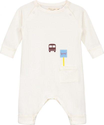 Smitten Organic - Upcycled 'De Lente Bus halte' Lange Mouwen Boxpak - Marshmallow - Maat 68