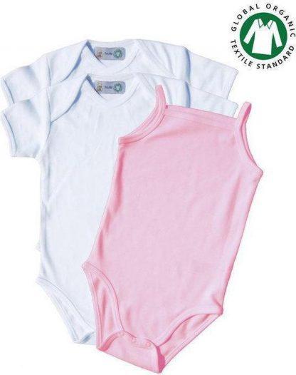 TOSKE 3-pak meisjes rompertjes korte mouw/spaghettibandje - Wit/baby roze - Maat 62/68