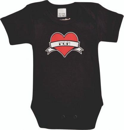 """Zwarte romper met """"Mom"""" - maat 68 - moeder, mama, moederdag, babyshower, zwanger, cadeautje, kraamcadeau, grappig, geschenk, baby, tekst, bodieke"""
