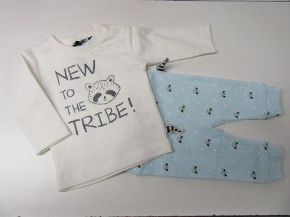 ensemble voor jongen , zero2three , wit met bleek blauw, wasbeer , 50 , 0-1 maand