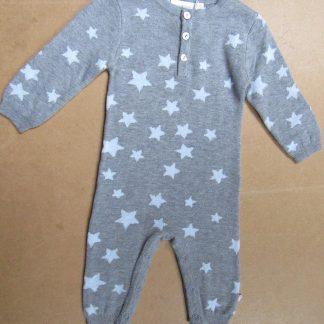 noukie's combi fijn gebreid , grijs met bleek blauwe ster , 3 maand