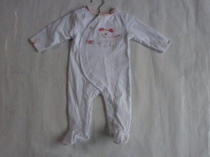 pyjama in katoen wit 6maand voor meisje