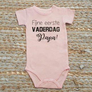 romper baby met tekst meisje fijne eerste vaderdag papa 50-56 kort roze
