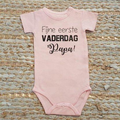 romper baby met tekst meisje fijne eerste vaderdag papa 74-80 kort roze