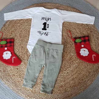 Rompertje baby met tekst cadeau Kerstpakje - Kerst Romper - Kerstoutfit tekst mijn eerste kerstmis pakje jongen meisje