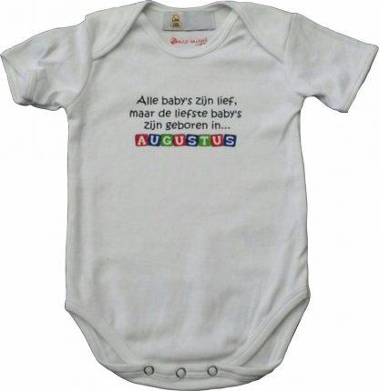 """Witte romper met """"Alle baby's zijn lief, maar de liefste baby's zijn geboren in... Augustus"""" - maat 62/68 - babyshower, zwanger, cadeautje, kraamcadeau, grappig, geschenk, baby, tekst, bodieke"""