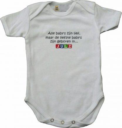 """Witte romper met """"Alle baby's zijn lief, maar de liefste baby's zijn geboren in... Juli"""" - maat 62/68 - babyshower, zwanger, cadeautje, kraamcadeau, grappig, geschenk, baby, tekst, bodieke"""