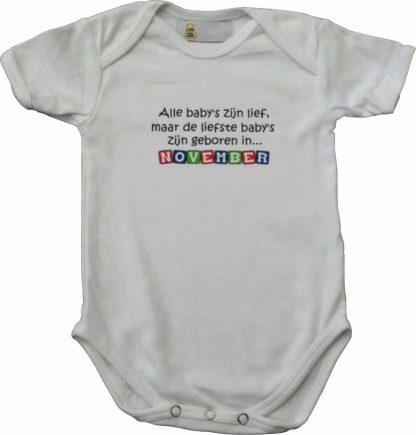 """Witte romper met """"Alle baby's zijn lief, maar de liefste baby's zijn geboren in... November"""" - maat 74/80 - babyshower, zwanger, cadeautje, kraamcadeau, grappig, geschenk, baby, tekst, bodieke"""