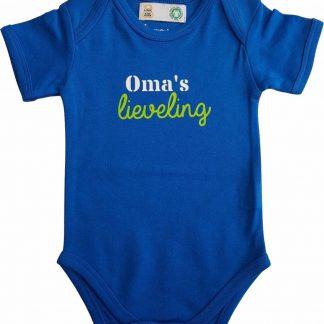 """Blauwe romper met """"Oma's lieveling"""" - maat 74/80 - grootmoeder, babyshower, zwanger, cadeautje, kraamcadeau, grappig, geschenk, baby, tekst, bodieke"""