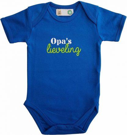 """Blauwe romper met """"Opa's lieveling"""" - maat 74/80 - grootvader, babyshower, zwanger, cadeautje, kraamcadeau, grappig, geschenk, baby, tekst"""