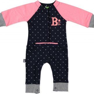 Boxpakje donkerblauw met sterren en roze 62/68