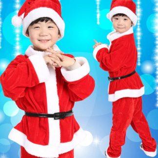 Fluweel Kerstman Kostuum voor Baby Jongen 9-18 maand - Maat: 80 - 4 delig: Jas, Broek, Riem, Kerstmuts voor kinderen - Kerstman Kostuum voor kinderen
