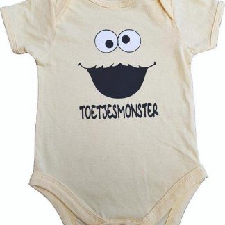 """Gele romper met """"Toetjesmonster"""" - 3 tot 6 maanden - babyshower, zwanger, cadeautje, kraamcadeau, grappig, geschenk, baby, tekst, bodieke"""