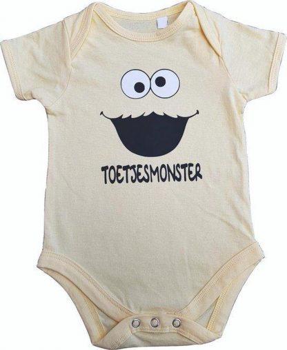 """Gele romper met """"Toetjesmonster"""" - 6 tot 12 maanden - babyshower, zwanger, cadeautje, kraamcadeau, grappig, geschenk, baby, tekst, bodieke"""
