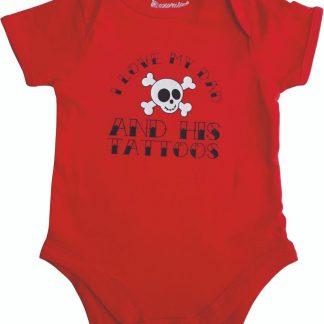 """Rode romper met """"I love my dad and his tattoos"""" - 6 tot 12 maanden - vaderdag, cadeautje, kraamcadeau, grappig, geschenk, baby, tekst, bodieke"""