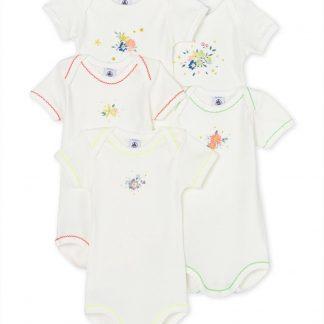 Set van 5 rompertjes met korte mouwen voor baby meisjes