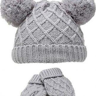 Soft Touch Diamond Knit babymuts en wanten acryl grijs